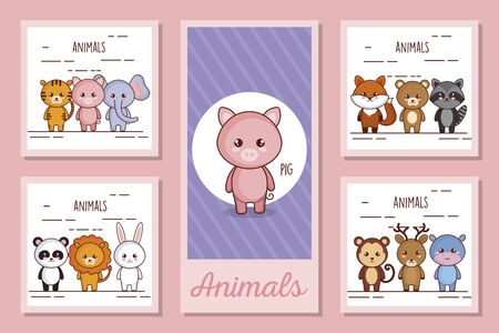 bundle designs of cute animals vector illustration design