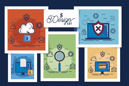 five designs of cyber security and set icons vector illustration design 일러스트