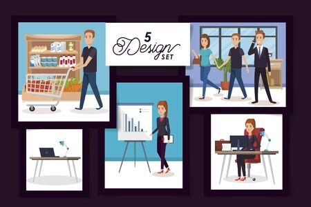 five designs of business people in the workplace and purchaser vector illustration design
