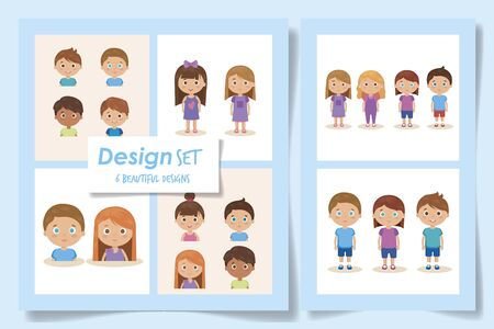 set designs of cute kids avatar character vector illustration design