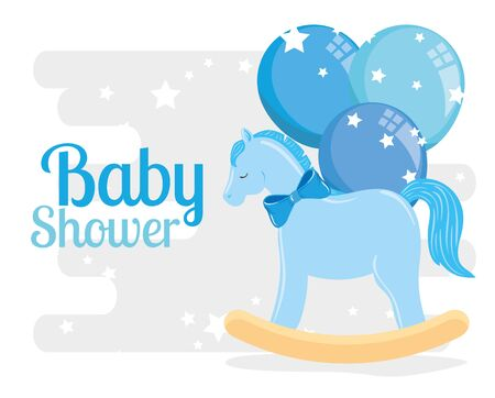 baby shower card with wooden horse and decoration vector illustration design