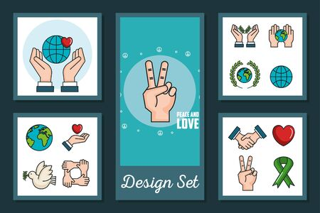 designs set of international peace day with icons vector illustration design