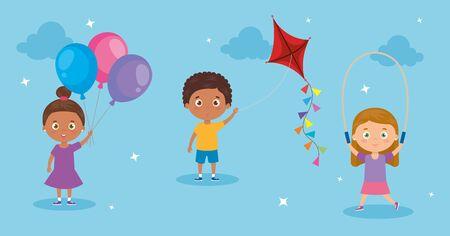 cute little group children avatar characters vector illustration design 向量圖像