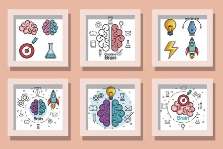 bundle designs of brainstorming icons vector illustration design