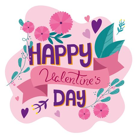 happy valentines day card with flowers decoration vector illustration design