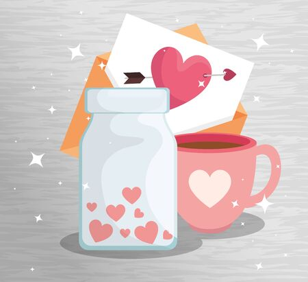 bottle with hearts and icons for san valentines day vector illustration design 矢量图像