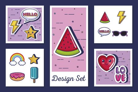 designs set of icons style pop art vector illustration design 일러스트
