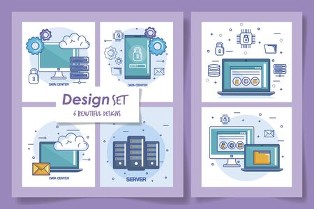 six designs of data center and icons vector illustration design 일러스트