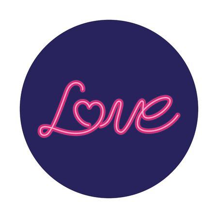 love label in neon light , valentine day vector illustration design