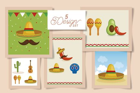 Mexican five designs, Mexico culture tourism landmark latin and party theme Vector illustration