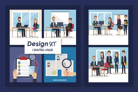 six designs of scenes resources human with icons vector illustration design 일러스트