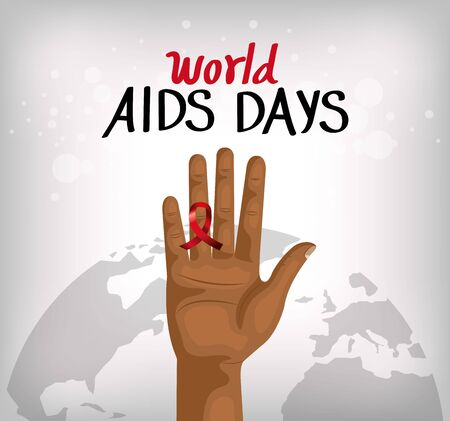 poster of world aids day with hand and ribbon vector illustration design