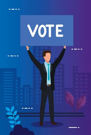 businessman and protest placard with vote lettering vector illustration design 일러스트