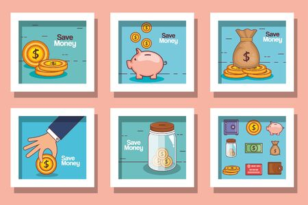 Frames set of money financial item banking commerce market payment buy currency accounting and invest theme Vector illustration 向量圖像