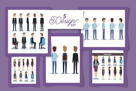 five design of elegant business people vector illustration design