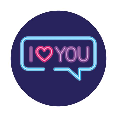 speech bubble in neon light, valentine day vector illustration design 일러스트