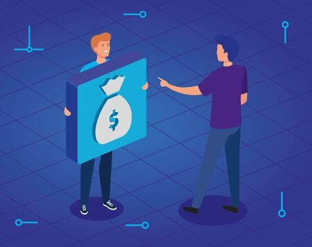 young men and button with money bag vector illustration design