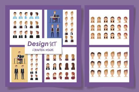 six design of elegant business people vector illustration design 일러스트