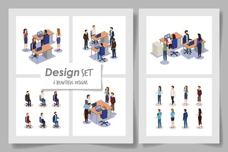 six designs with business people in the workplace vector illustration design 일러스트