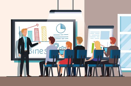 business people meeting with infographics presentation vector illustration design