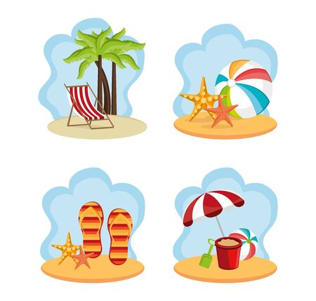 bundle summer holiday with set icons vector illustration design