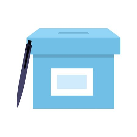 ballot box with pen isolated icon vector illustration design