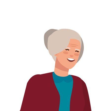 old woman elegant avatar character vector illustration design