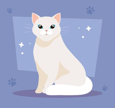cute cat white in background with pawprints vector illustration design Illustration