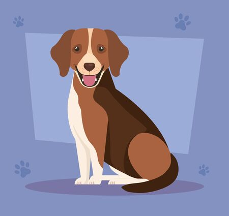 brown dog with white spot in background with pawprints vector illustration design Illustration