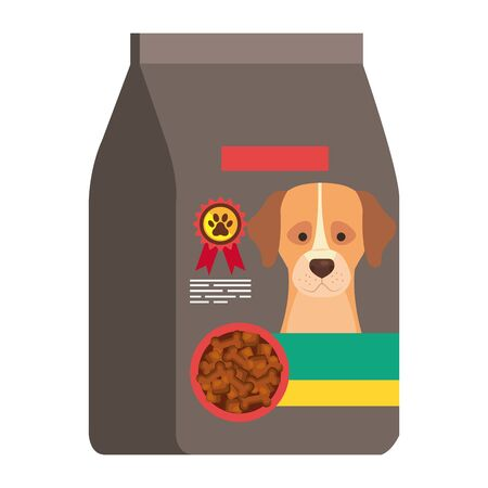 food for dog in bag isolated icon vector illustration design Ilustrace