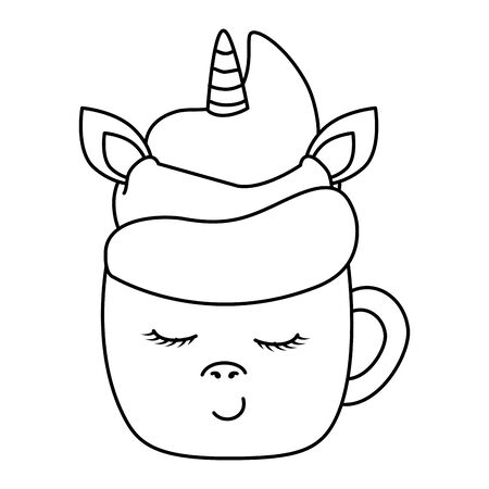 cute cup unicorn kawaii style icon vector illustration design 일러스트