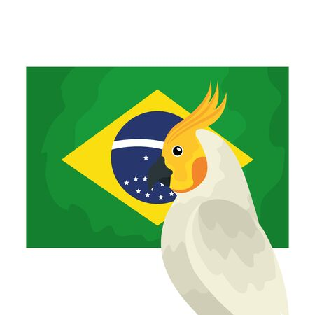 flag of brazil with parrot isolated icon vector illustration design