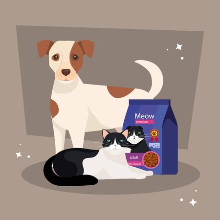 cute cat and dog with bag food vector illustration design