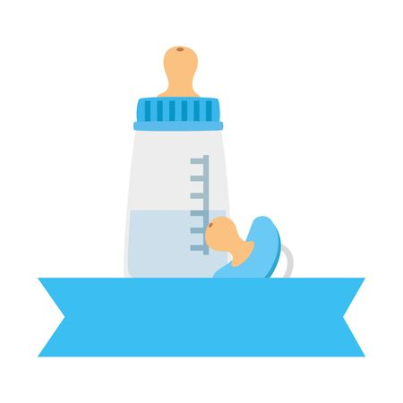 baby bottle milk with pacifier isolated icons vector illustration design  イラスト・ベクター素材