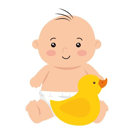 cute little baby boy with duck rubber vector illustration design