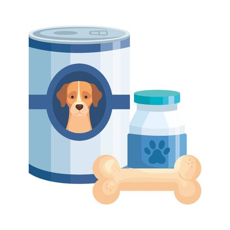 food for dog in can with bottle dog medicine and bone toy vector illustration design