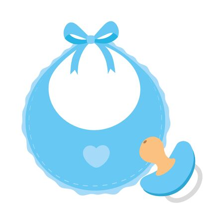 cute baby bib with pacifier isolated icon vector illustration design