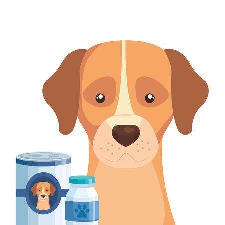 cute dog with bottle medicine and food vector illustration design