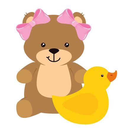 cute duck rubber with teddy bear female vector illustration design