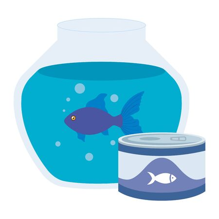 round glass fish bowl with food for fish in can vector illustration design