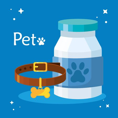 pet shop veterinary with bottle medicine and collar vector illustration design