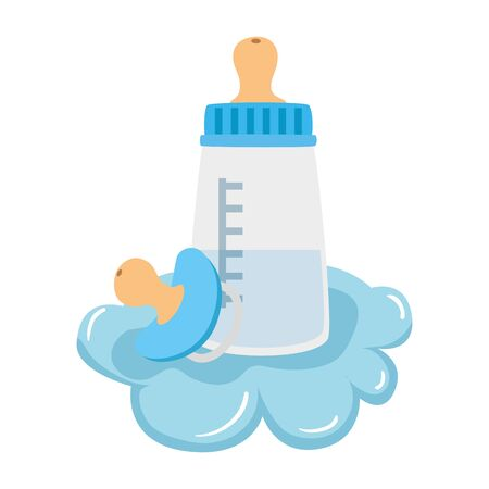 baby bottle milk with pacifier in cloud vector illustration design