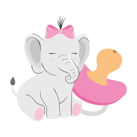 cute elephant female with pacifier isolated icon vector illustration design