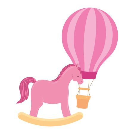 balloon travel hot with horse wooden toy vector illustration design