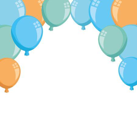 set balloons helium decoration isolated icons vector illustration design