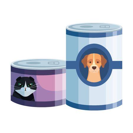 food for cat and dog in can vector illustration design Ilustração
