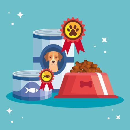 set food premium for animals vector illustration design