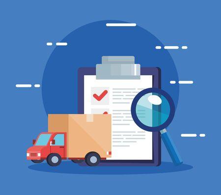 checklist of delivery logistic service and icons vector illustration design Ilustração