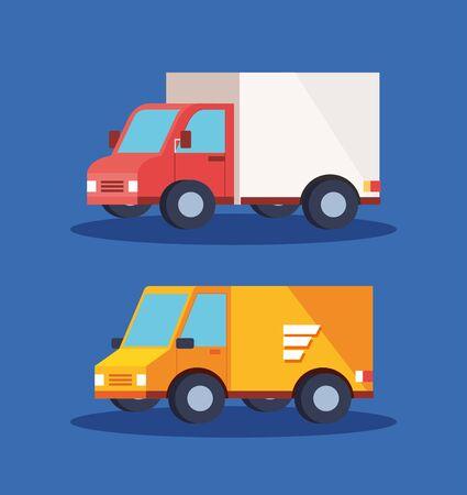 set vehicles of delivery logistic service vector illustration design Vector Illustratie