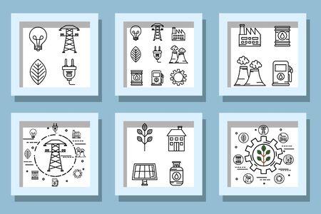 bundle designs of ecofriendly icons vector illustration design Vector Illustration